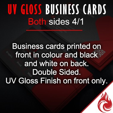 UV Gloss Business Cards Full Color 4/1