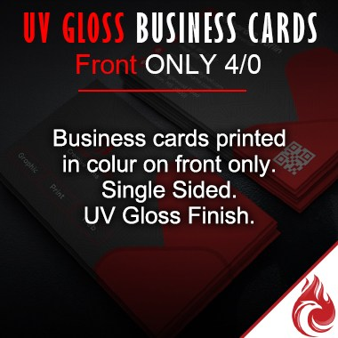 UV Gloss full color business cards 4/0